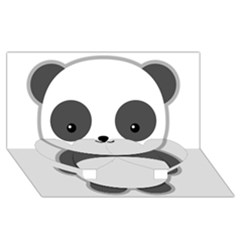 Kawaii Panda Twin Heart Bottom 3D Greeting Card (8x4)