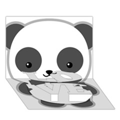Kawaii Panda Love Bottom 3d Greeting Card (7x5)