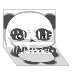 Kawaii Panda YOU ARE INVITED 3D Greeting Card (7x5)