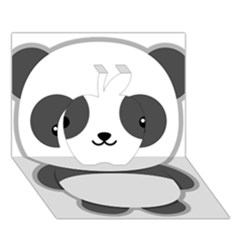 Kawaii Panda Apple 3D Greeting Card (7x5)