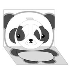 Kawaii Panda Peace Sign 3d Greeting Card (7x5)