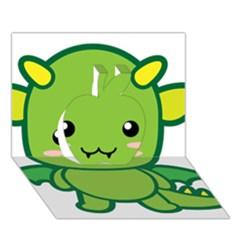 Kawaii Dragon Apple 3D Greeting Card (7x5)