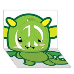 Kawaii Dragon Peace Sign 3D Greeting Card (7x5)