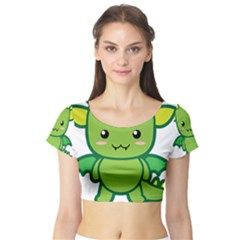 Kawaii Dragon Short Sleeve Crop Top
