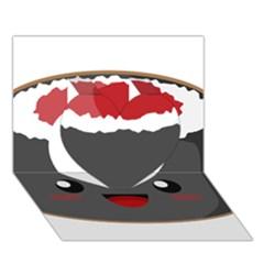 Kawaii Sushi Heart 3D Greeting Card (7x5)
