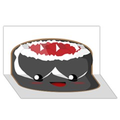 Kawaii Sushi Twin Hearts 3d Greeting Card (8x4)