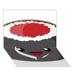 Kawaii Sushi Heart Bottom 3D Greeting Card (7x5)