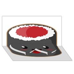 Kawaii Sushi Twin Heart Bottom 3d Greeting Card (8x4)
