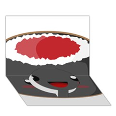 Kawaii Sushi Circle Bottom 3d Greeting Card (7x5)