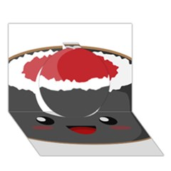 Kawaii Sushi Circle 3D Greeting Card (7x5)