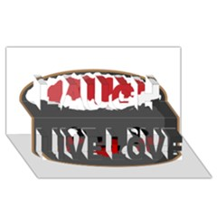 Kawaii Sushi Laugh Live Love 3d Greeting Card (8x4)