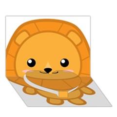Kawaii Lion Heart Bottom 3D Greeting Card (7x5)