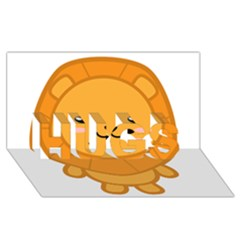 Kawaii Lion Hugs 3d Greeting Card (8x4)