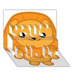 Kawaii Lion You Did It 3D Greeting Card (7x5)