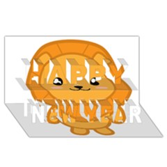 Kawaii Lion Happy New Year 3d Greeting Card (8x4)