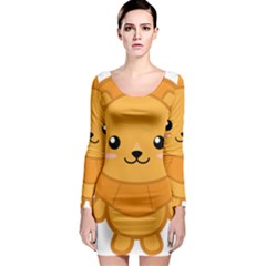 Kawaii Lion Long Sleeve Bodycon Dresses