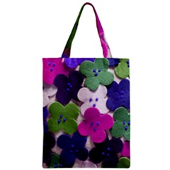 Cotton Flower Buttons  Zipper Classic Tote Bags