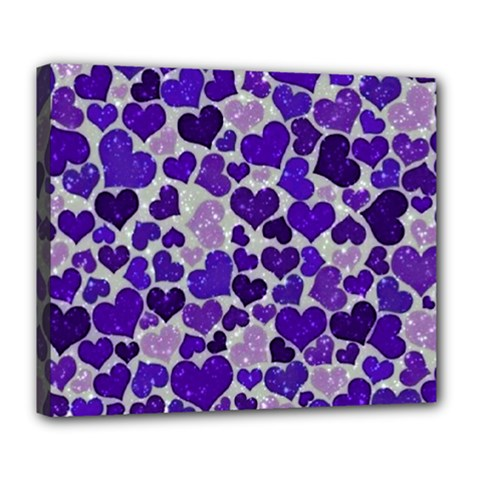 Sparkling Hearts Blue Deluxe Canvas 24  x 20