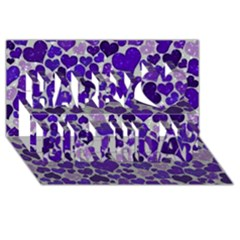 Sparkling Hearts Blue Happy Birthday 3D Greeting Card (8x4)
