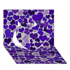 Sparkling Hearts Blue Heart 3d Greeting Card (7x5)