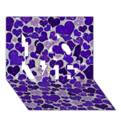 Sparkling Hearts Blue Love 3d Greeting Card (7x5)