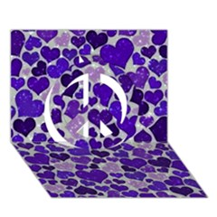 Sparkling Hearts Blue Peace Sign 3D Greeting Card (7x5)