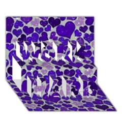 Sparkling Hearts Blue WORK HARD 3D Greeting Card (7x5)