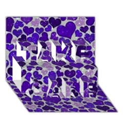 Sparkling Hearts Blue Take Care 3d Greeting Card (7x5)