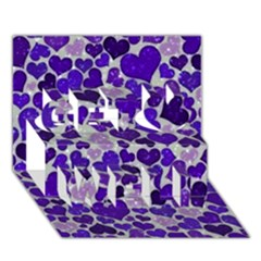 Sparkling Hearts Blue Get Well 3d Greeting Card (7x5)