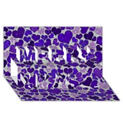 Sparkling Hearts Blue Merry Xmas 3D Greeting Card (8x4)