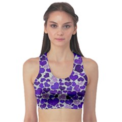 Sparkling Hearts Blue Sports Bra