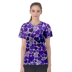 Sparkling Hearts Blue Women s Sport Mesh Tees