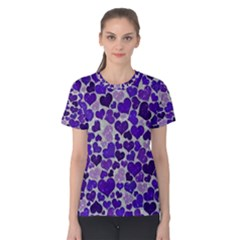 Sparkling Hearts Blue Women s Cotton Tees