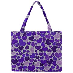 Sparkling Hearts Blue Tiny Tote Bags