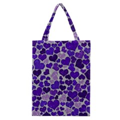 Sparkling Hearts Blue Classic Tote Bags