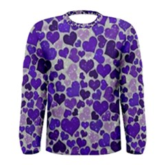 Sparkling Hearts Blue Men s Long Sleeve T-shirts
