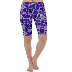 Sparkling Hearts Blue Cropped Leggings