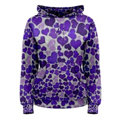 Sparkling Hearts Blue Women s Pullover Hoodies