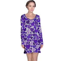 Sparkling Hearts Blue Long Sleeve Nightdresses