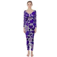 Sparkling Hearts Blue Long Sleeve Catsuit