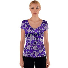Sparkling Hearts Blue Women s V-Neck Cap Sleeve Top