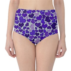 Sparkling Hearts Blue High Waist Bikini Bottoms