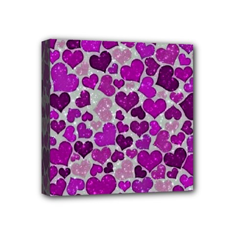 Sparkling Hearts Purple Mini Canvas 4  x 4