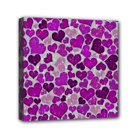 Sparkling Hearts Purple Mini Canvas 6  x 6