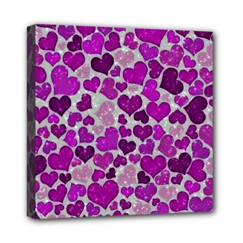 Sparkling Hearts Purple Mini Canvas 8  x 8