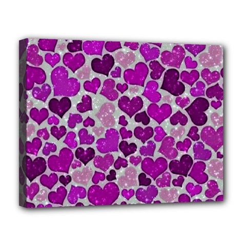 Sparkling Hearts Purple Canvas 14  x 11