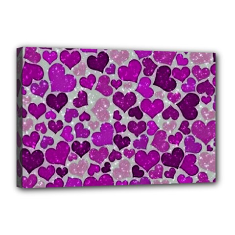 Sparkling Hearts Purple Canvas 18  x 12
