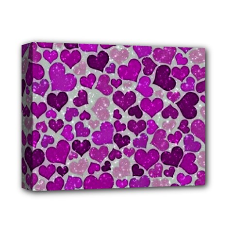 Sparkling Hearts Purple Deluxe Canvas 14  x 11