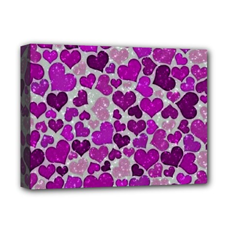 Sparkling Hearts Purple Deluxe Canvas 16  x 12