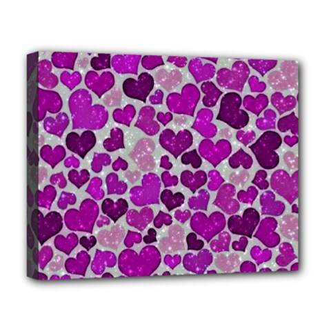 Sparkling Hearts Purple Deluxe Canvas 20  x 16